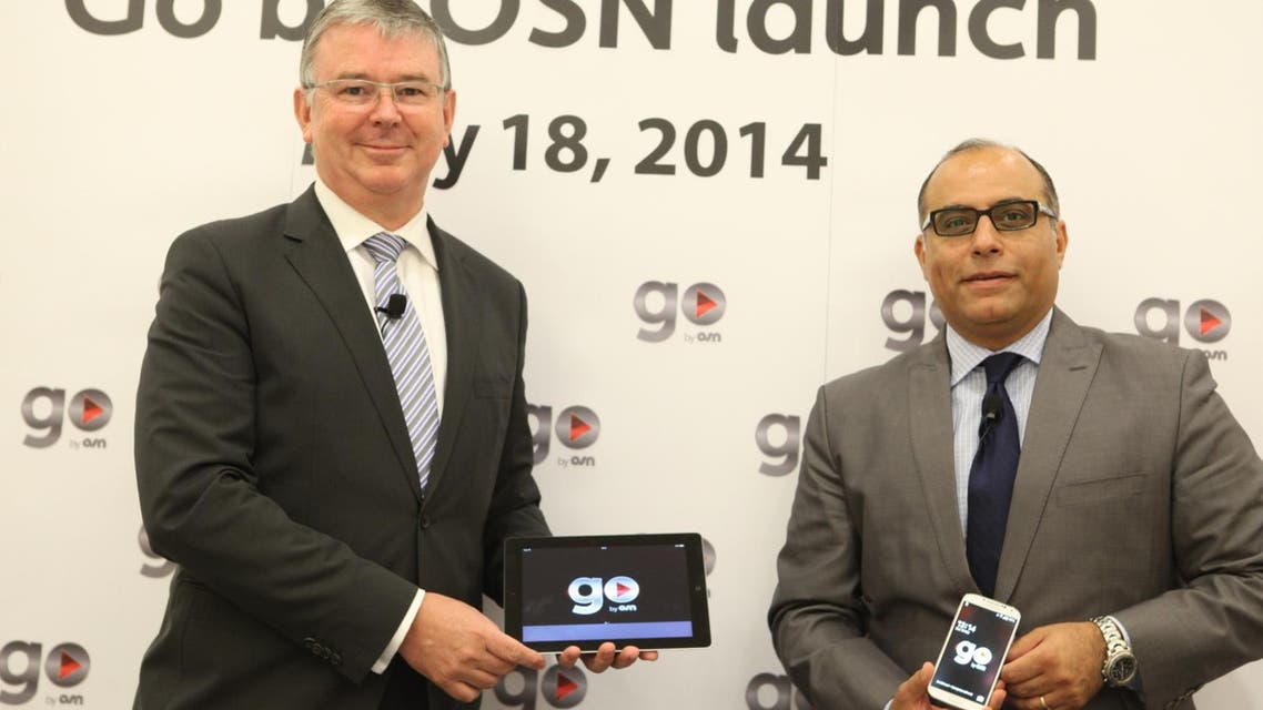 "David Butorac, chief executive of OSN (L) and Emad Morcos, senior vice president of Business Development and Digital at OSN, at the launch of ""Go by OSN"" online platform."