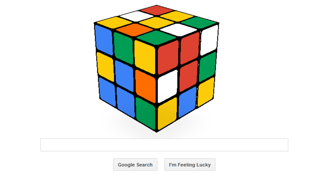 Google replaced its logo with an interactive Rubik's Cube. (Photo courtesy: Google)