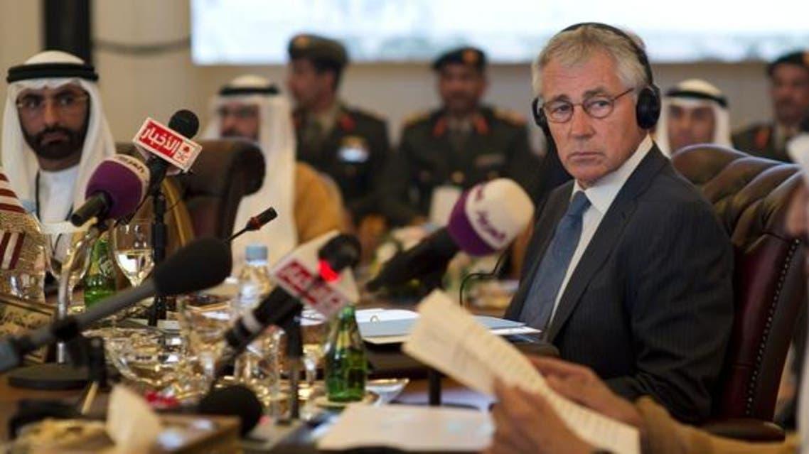 Defense Secretary Chuck Hagel listens to his Saudi counterpart Salman bin Abdulaziz Al Saud at the Gulf Cooperation Council Defense Ministerial in Jeddah, Saudi Arabia, May 14, 2014. // DoD Photo by Erin A. Kirk-Cuomo