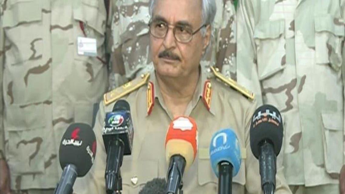 THUMBNAIL_ اللواء خليفة حفتر يتلو بيان المجلس العسكري الأعلى للقوات المسلحة الليبية