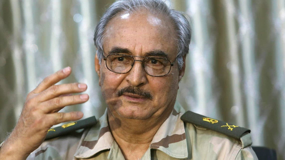 General Khalifa Haftar speaks during a news conference at a sports club in Abyar, a small town to the east of Benghazi. May 17, 2014. (Reuters)