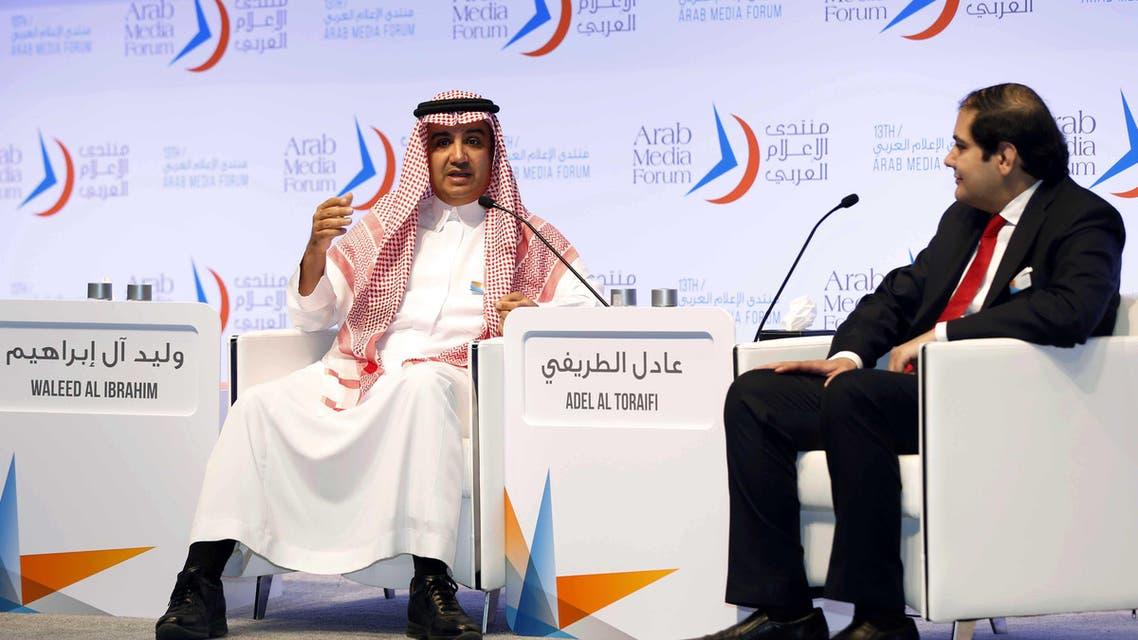 MBC Group's chairman Sheikh Waleed al-Ibrahim, left, and Editor-In-Chief of Asharq Al Awsat, Adel Al Toraifi at the Arab Media Forum. (Al Arabiya)