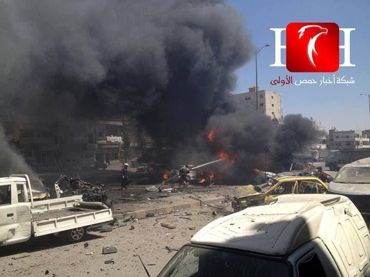 تفجير سيارة في حي الزهراء في حمصص سوريا