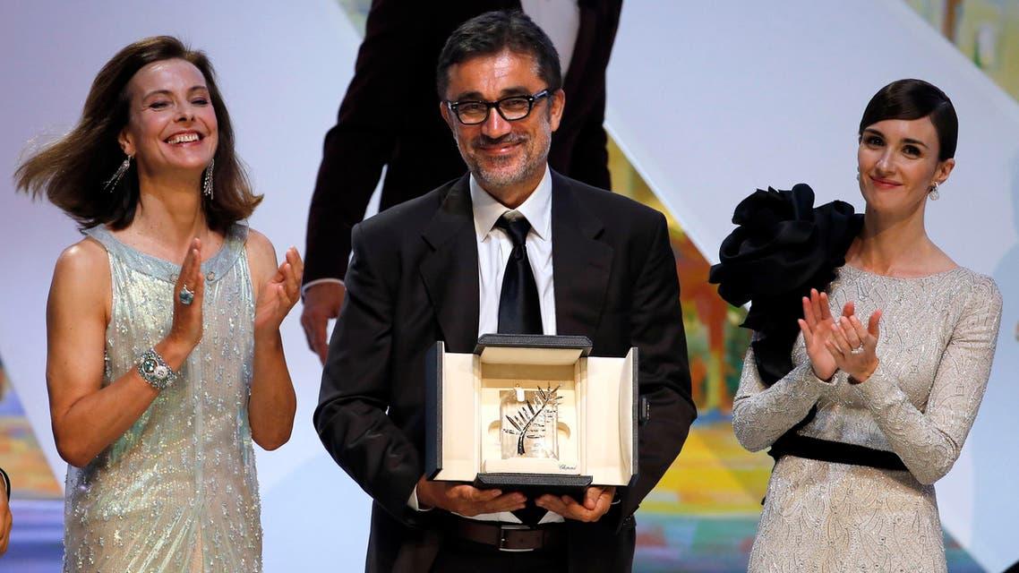 "Director Nuri Bilge Ceylan (C), Palme d'Or award winner for his film ""Winter Sleep"