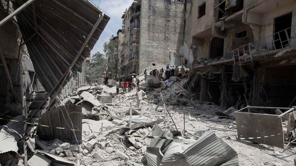 تفجير براميل  انفجارات دمار في حلب سوريا