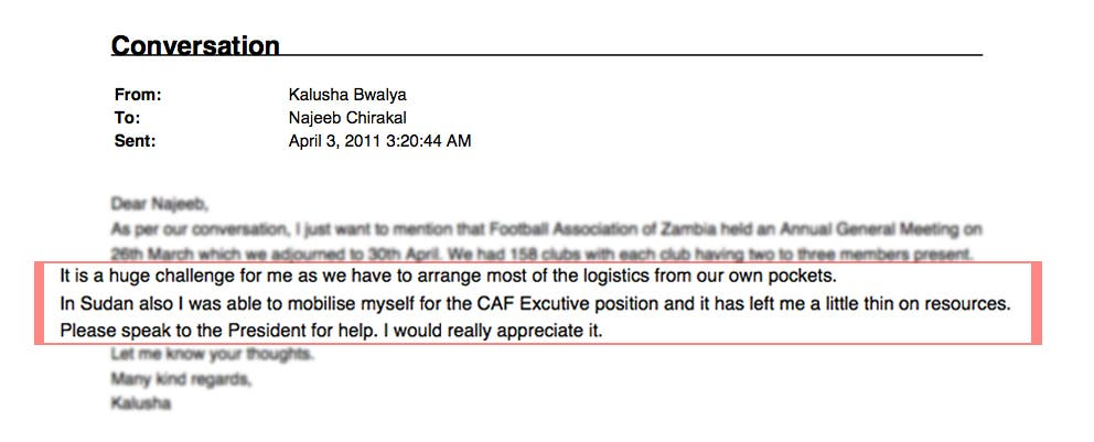 Email exchange between Kalusha Bwalya and Bin Hammam's assistant. (Image courtesy: Sunday Times)