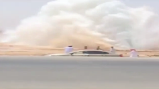 Video shows water pipe burst near Saudi capital