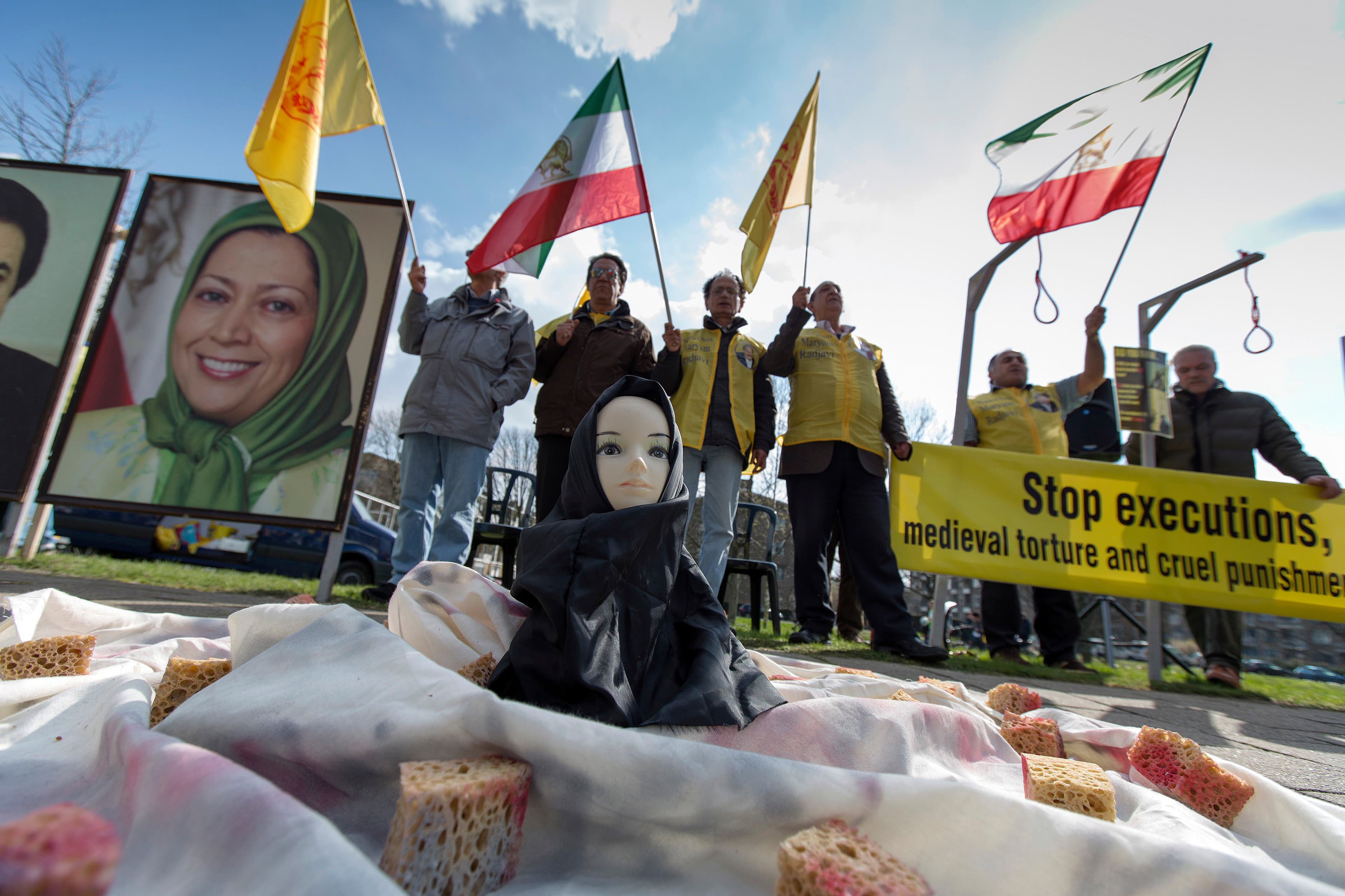 People protest against executions and human rights violations in Iran on a square near the Nuclear Security Summit in The Hague March 25, 2014. (Reuters)