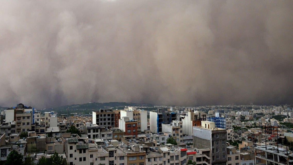 A sandstorm engulfs the northeastern neighborhood of Minicity in the Iranian capital Tehran. (AFP)