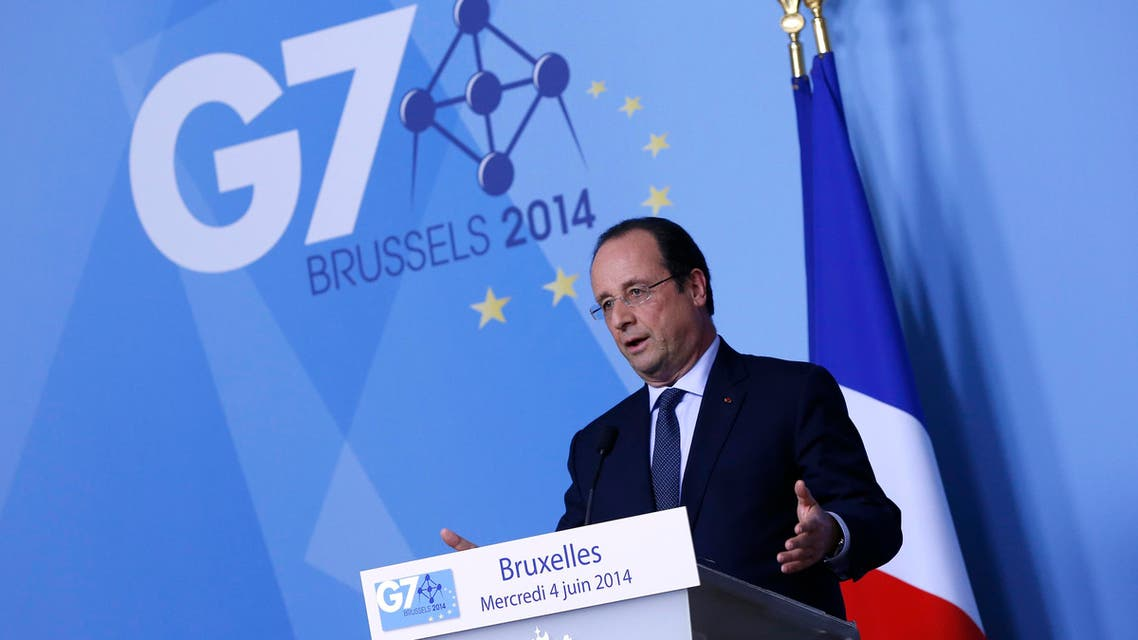 France's President Francois Hollande holds a news conference during a G7 leaders meeting at European Council headquarters in Brussels June 4, 2014. (AFP)