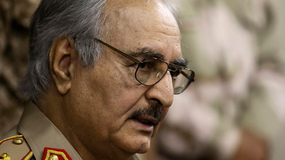 General Khalifa Haftar speaks during a news conference in Abyar, a small town to the east of Benghazi, May 31, 2014. (Reuters)