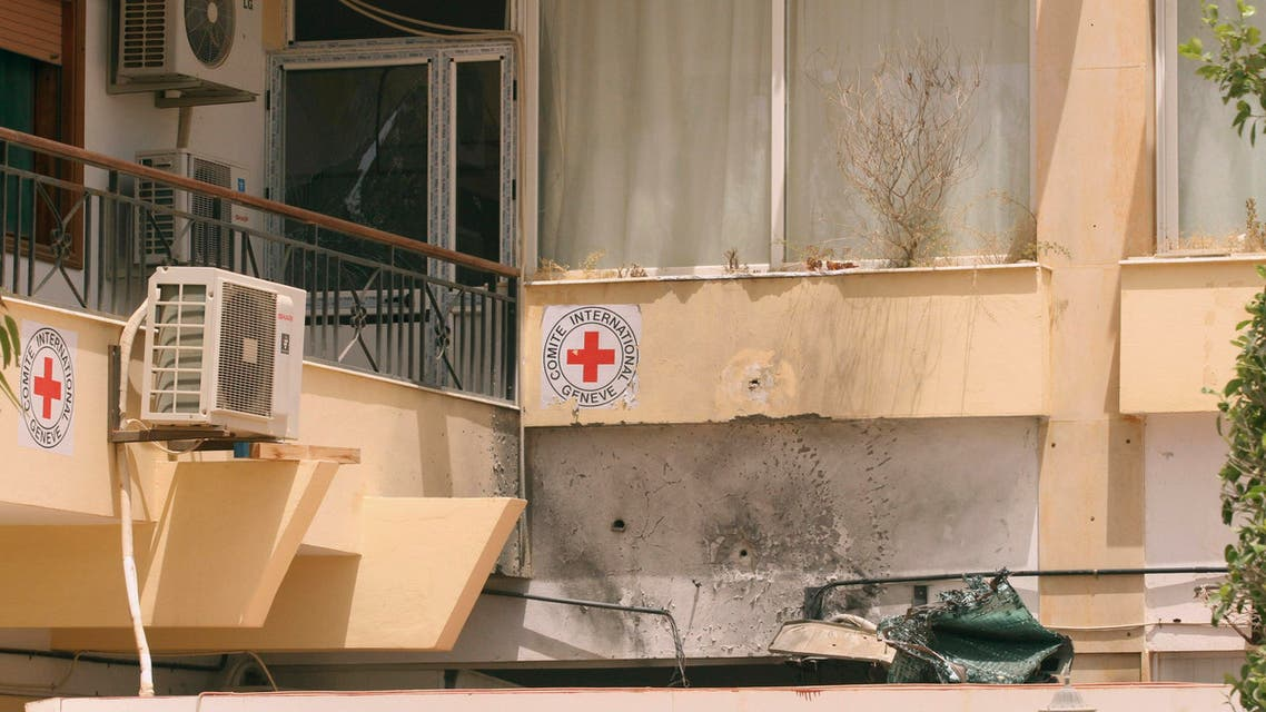 A view of a Red Cross building hit by a rocket-propelled grenade (RPG) in Benghazi May 22, 2012.