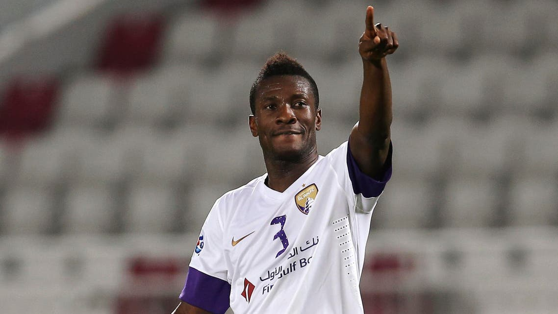 Asamoah Gyan of UAE's Al Ain celebrates his goal against Qatar's Lekhwiya during their AFC Champions League soccer match in Doha April 15, 2014. (Reuters)