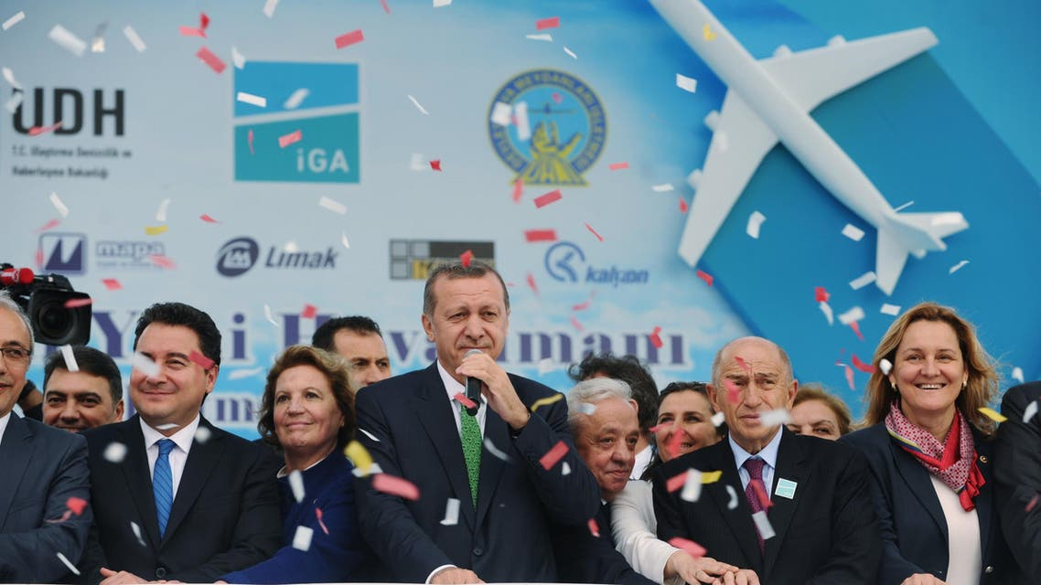 Turkish Prime Minister Recep Tayyip Erdogan (C) attends the Istanbul's third airports first stone cerenomy on June 7 ,2014 in Istanbul. (AFP)