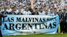 Argentinean team stages Falkland protest before World Cup warm-up