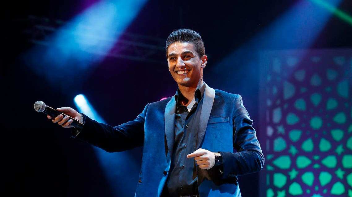 """Palestinian Arab """"Idol"""", singer Mohammed Assaf performs during the 13th Mawazine Rhythms of the World music festival in Rabat May 30, 2014."""
