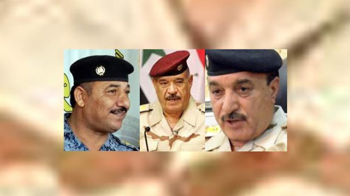 الفريق أول علي غيدان والفريق عبود قنبر واللواء مهدي صبيح الغراوي