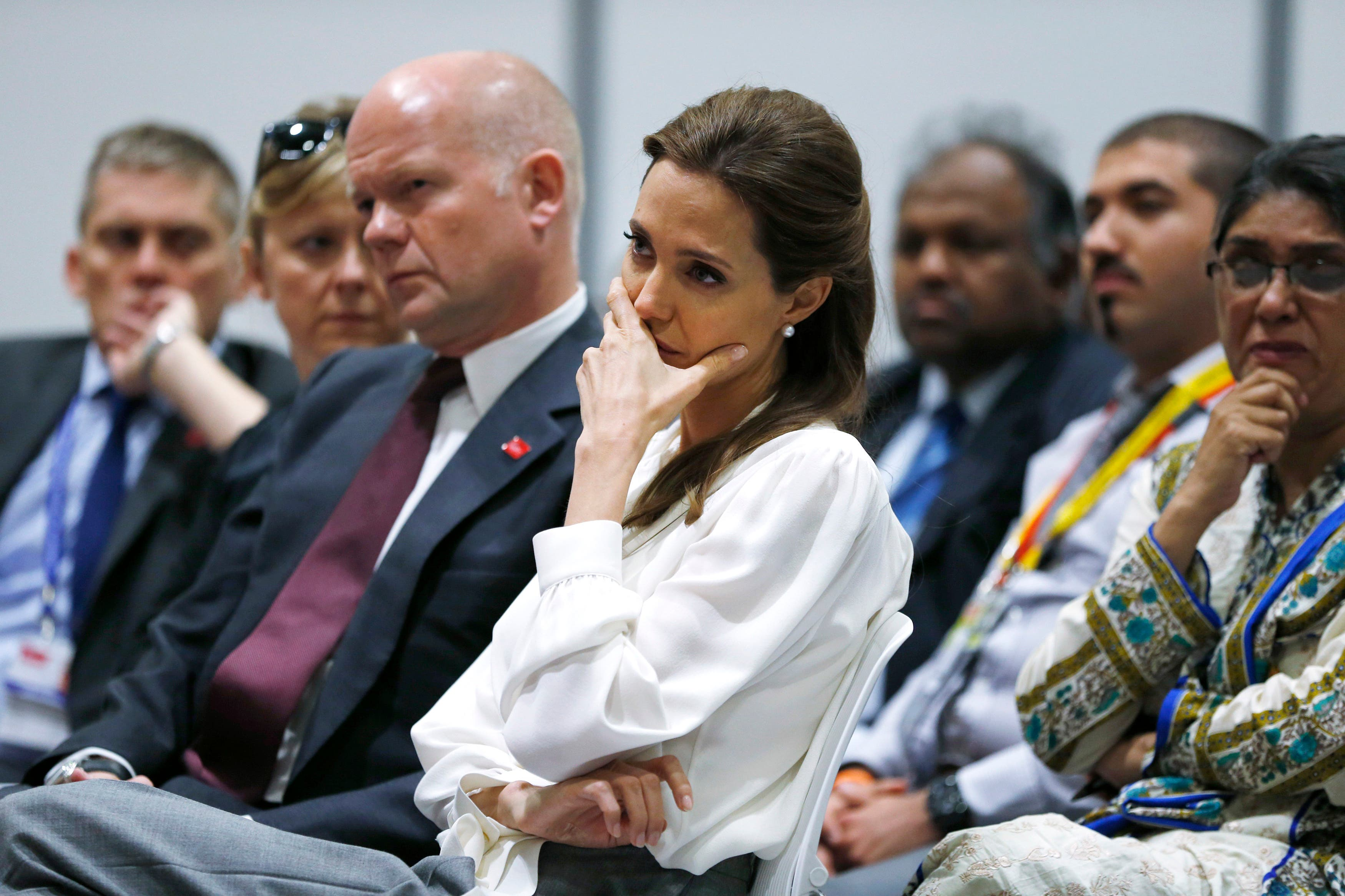 Angelina Jolie and William Hague at the 'End Sexual Violence in Conflict' summit. (Reuters)