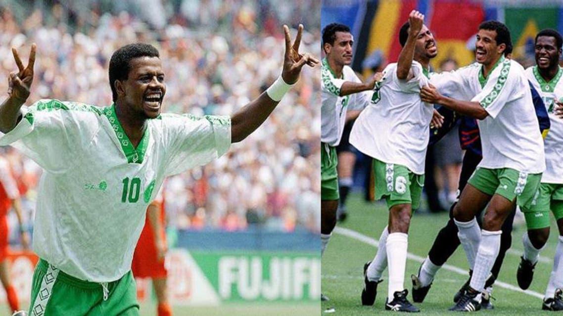 فرحة المنتخب السعودي كأس العالم 1994 امريكا سعيد العويران فؤاد انور