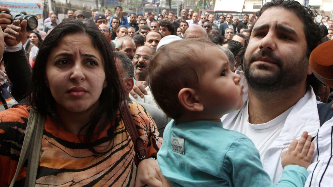 Alaa Abdel Fattah (R), seen here in 2013. (File photo: Reuters)