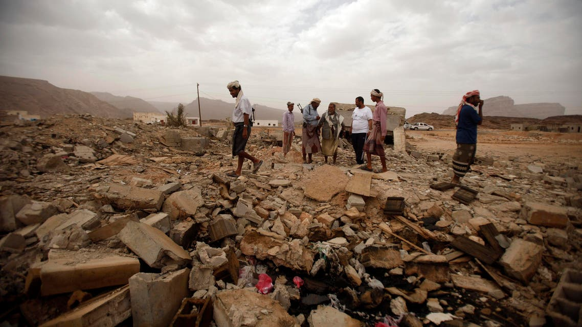 yemen drone ruins reuters
