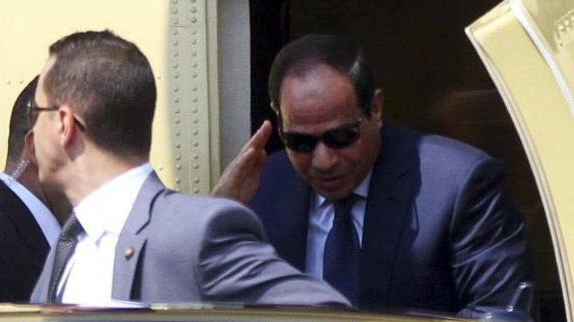 Former army chief Abdel Fattah al-Sisi arrives in a military helicopter before swearing in as Egypt's new president in a ceremony at the Supreme Constitutional Court in Cairo June 8, 2014.  (Reuters)