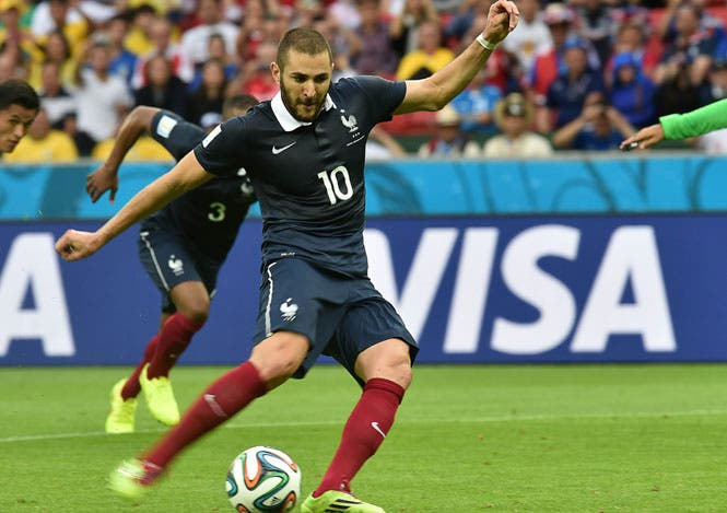 France's forward Karim Benzema takes a penalty during their World Cup match against Honduras at the Beira-Rio Stadium in Porto Alegre. (AFP Photo)
