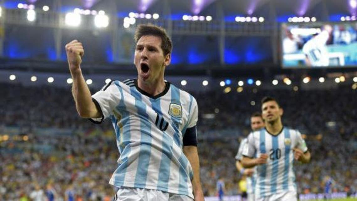 Argentina's forward and captain Lionel Messi celebrates scoring during a Group F football match between Argentina and Bosnia-Hercegovina at the Maracana Stadium in Rio De Janeiro during the 2014 FIFA World Cup on June 15, 2014.