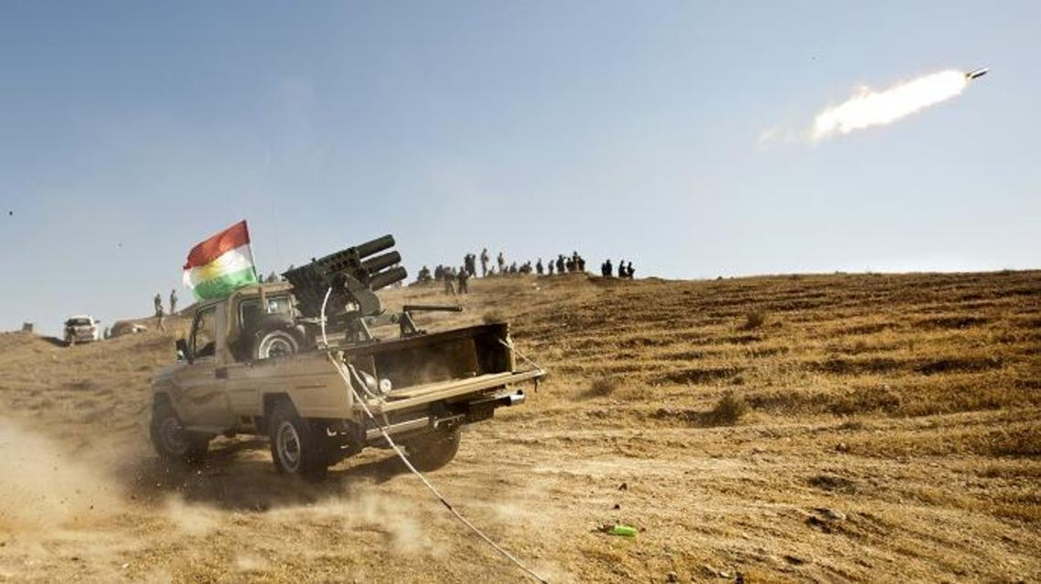 urdish Peshmerga forces fire missiles during clashes with militants of the Islamic State of Iraq and the Levant (ISIL) jihadist group in Jalawla in the Diyala province. (AFP)