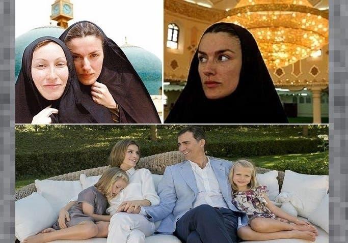 فوق: داخل مسجد في ابريل 2003 بالبصرة، ومتحجبة خلف صحافية ألمانية تغطي مثلها غزو العراق، ثم  ليتيثيا وزوجها الأمير فيليبي، وابنتاهما الوحيدتان