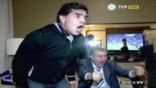 Maradona reacts to Uruguay goal in England World Cup match