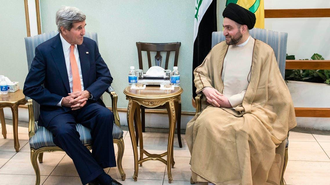 Ammar al-Hakim, head of the Islamic Supreme Council of Iraq (ISCI), meets with U.S. Secretary of State John Kerry (L) in Baghdad June 23, 2014. (Reuters)