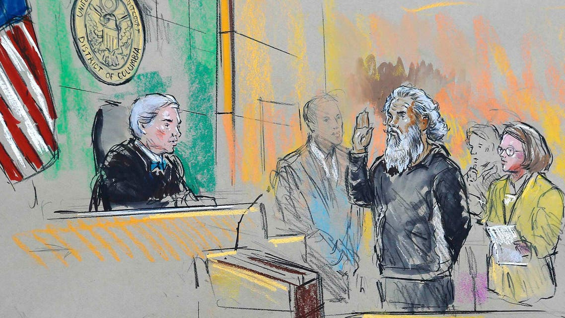 A courtroom sketch depicts Ahmed Abu Khatallah being sworn in during a hearing in U.S. federal court in Washington June 28, 2014. (Reuters)