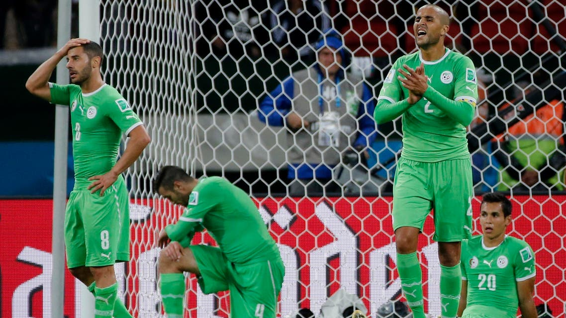 Algeria's players react after conceding a second goal against Germany in extra time during their 2014 World Cup round of 16 game at the Beira Rio stadium in Porto Alegre June 30, 2014. reuters