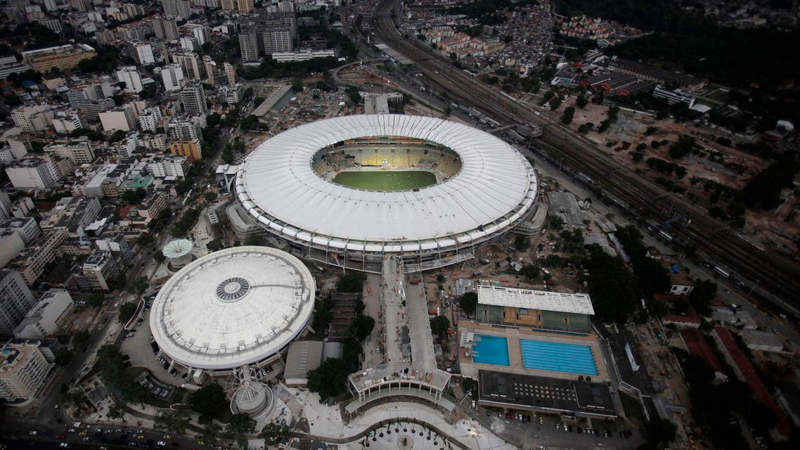 An aerial view shows the final touches of the roof installation at the Maracana Stadium, which is undergoing renovation for the 2014 World Cup, in Rio de Janeiro April 9, 2013.