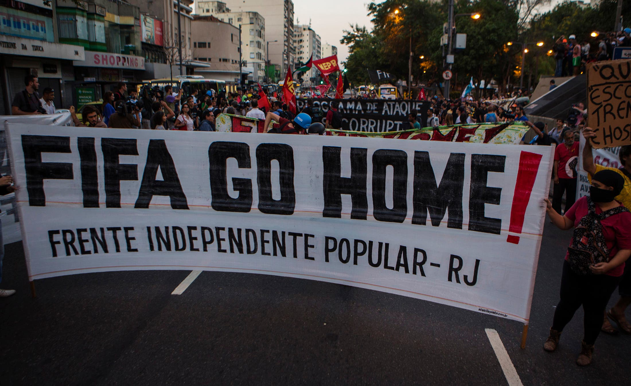 Protesters demonstrate against the public spending for the 2014 World Cup, in Rio de Janeiro June 15, 2014.  (Reuters)