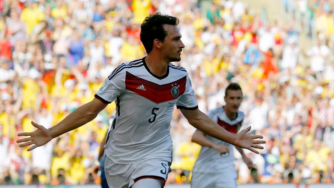 Germany's Mats Hummels celebrates after scoring a goal against France during the 2014 World Cup quarter-finals soccer match at the Maracana stadium in Rio de Janeiro July 4, 2014. (Reuters)