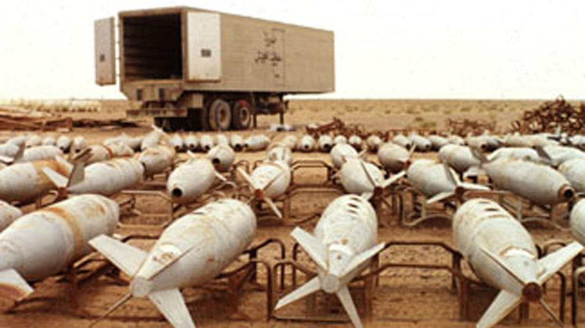 Chemical warfare agent filled 500 pound aerial bombs await destruction at Muthanna, Iraq in this undated file photo. (Reuters)