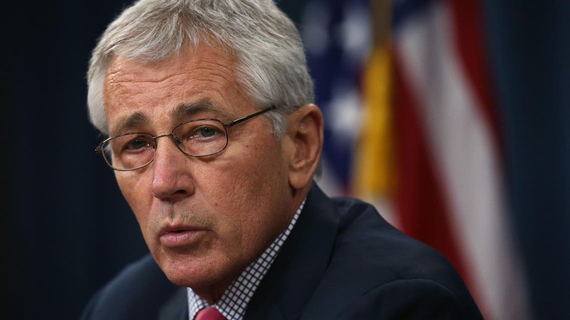 Secretary of Defense Chuck Hagel briefs members of the media July 3, 2014 at the Pentagon in Arlington, Virginia. afp