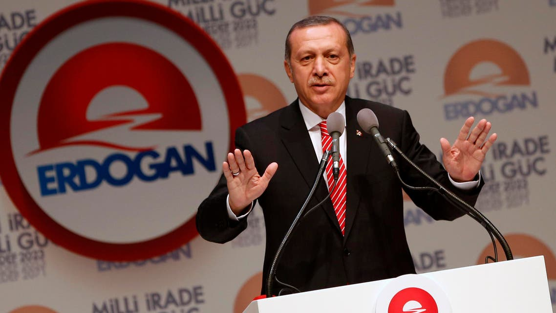 Turkey's Prime Minister and presidential candidate Tayyip Erdogan makes a speech during a meeting to launch his election campaign in Istanbul July 11, 2014.