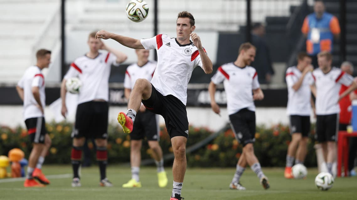 Germany's forward Miroslav Klose warms up during a training session at the Sao Januario Stadium in Rio de Janeiro on July 12, 2014, on the eve of the 2014 FIFA World Cup final football match Germany vs Argentina. (AFP)