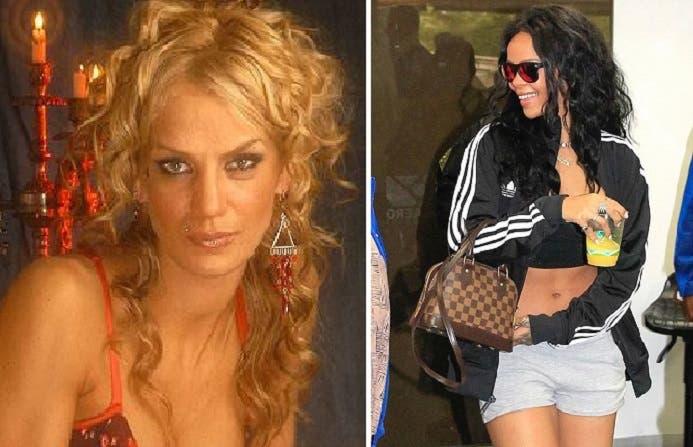 المغنية حين وصلت الجمعة إلى مطار الريو، وإلى اليسار الزوجة المتنازلة