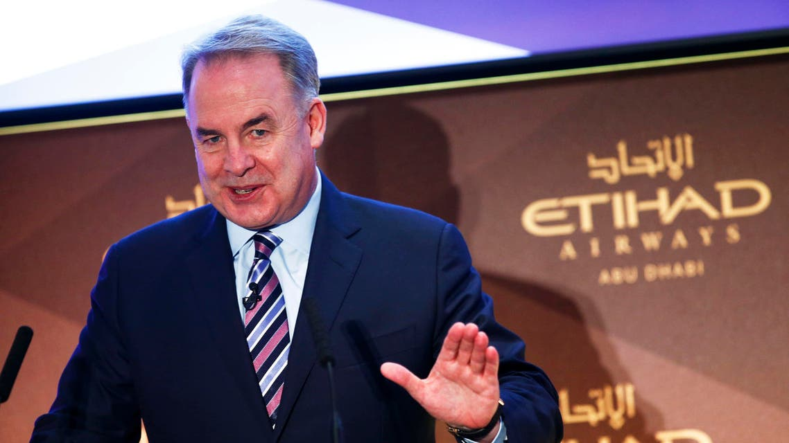 Etihad Airways Chief Executive James Hogan gestures during a news conference in Rome July 16, 2014. (Reuters)