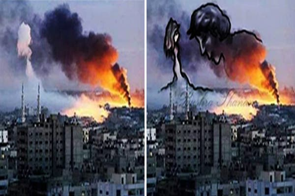 Gaza Art فنانون في غزة يحولون دخان غارات اسرائيل الى لوحات فنية