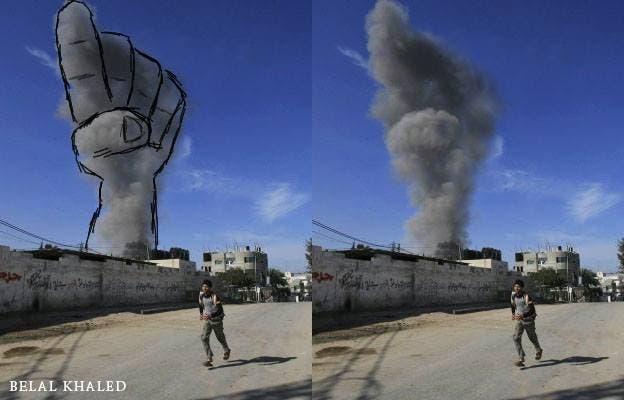 فنانون في غزة يحولون دخان غارات اسرائيل الى لوحات فنية