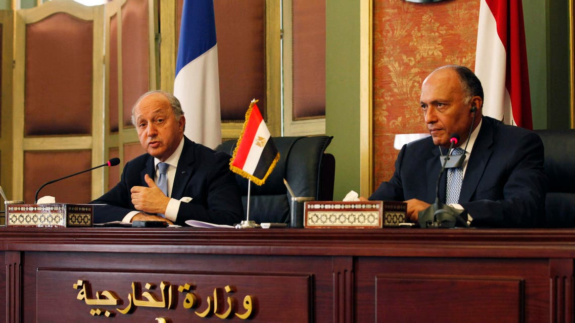 French Foreign Minister, Laurent Fabius (L), talks during a news conference with his Egyptian counterpart Samih Shukri (R), in Cairo July 18, 2014.  (Reuters)