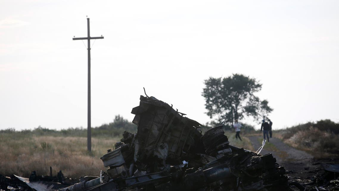 Wreckage is pictured at the crash site of Malaysia Airlines Flight MH17, near the settlement of Grabovo in the Donetsk region.(Reuters)