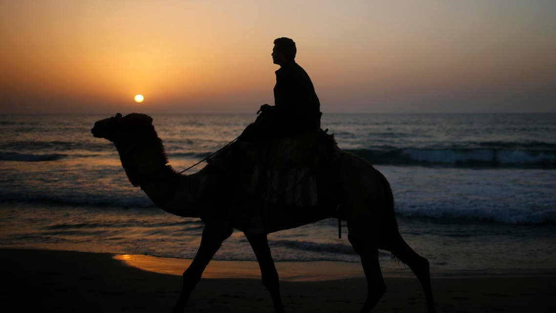 man rides a camel during sunset on the beach. (Reuters)