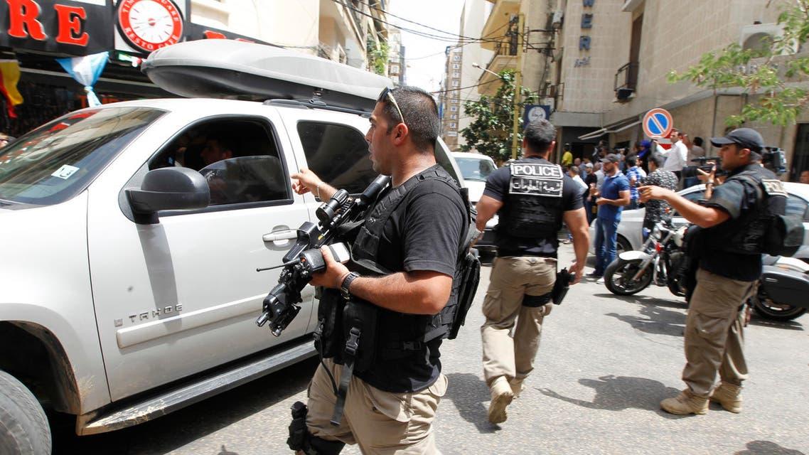 Lebanese police during raid anit-terror raid in Beirut