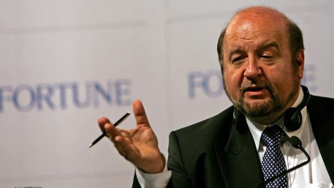 """The author of """"The Mystery of Capital"""" Hernando de Soto gestures during the press briefing at the fortune global forum in Beijing. The author of """"The Mystery of Capital"""" Hernando de Soto gestures during the press briefing at the Fortune Global Forum in Beijing May 17, 2005. (Reuters)"""
